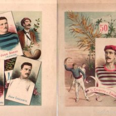 Coleccionismo deportivo: LOTE DE 14 CROMOLITOGRAFIAS PELOTARIS VASCOS. CIRCA 1860. Lote 56507592
