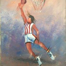 Coleccionismo deportivo: CUADRO OLEO PINTURA BASKET BASQUET BALONCESTO AÑO 70 VINTAGE EEUU BARCELONA DEPORTE MUSEO SPORT (6. Lote 57088806