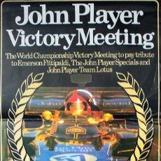 Coleccionismo deportivo: CARTEL POSTER REUNION TRIBUTO A EMERSON FITTIPALDI EN BRANDS HATCH 1972 (AL DORSO TYRELL) 47 X 39 CM. Lote 57193334