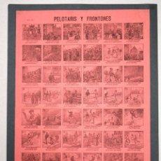 Coleccionismo deportivo: AUCA PELOTARIS Y FRONTONES. XILOGRAFIA. CIRCA 1900.. Lote 57309474