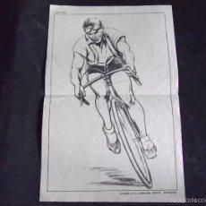Coleccionismo deportivo: CICLISMO-V40-LAMINA DIBUJO CICLISTA-SUCESOR DE E.MESEGUER,EDITOR-BARCELONA-1940-50-260X180MM. Lote 58090865