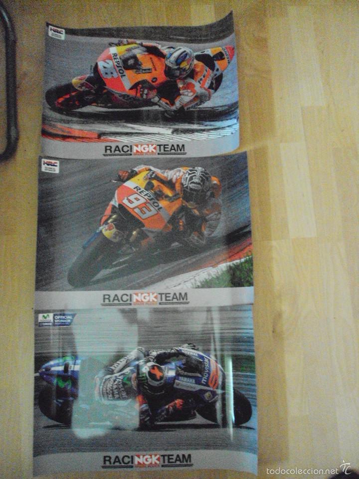 LOTE DE 3 POSTERS, A ESTRENAR, DE TRES PILOTOS DE MOTO GP (Coleccionismo Deportivo - Carteles otros Deportes)