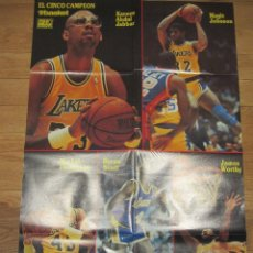 Coleccionismo deportivo: POSTER GIGANTE LOS ANGELES LAKERS PLAYOFFS 1988. EL CINCO CAMPÉON. DON BASKET. Lote 58374998