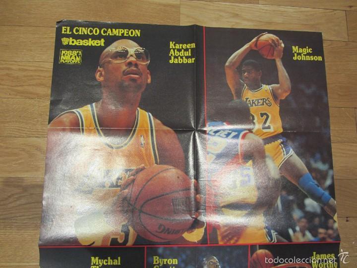 Coleccionismo deportivo: Poster gigante Los Angeles Lakers Playoffs 1988. El Cinco Campéon. Don Basket - Foto 3 - 58374998