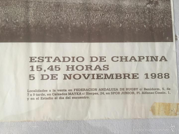 Coleccionismo deportivo: Cartel Histórico Rugby España - Maoris 1988. Chapina Sevilla. 70*59 cm - Foto 3 - 59640972