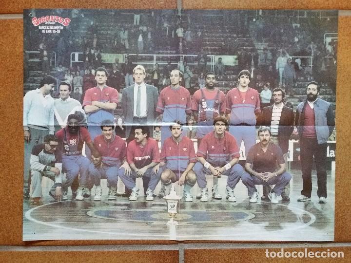 Coleccionismo deportivo: Poster Real Madrid y Barcelona. Liga 1985 1986. Gigantes. Baloncesto - Foto 2 - 61728692