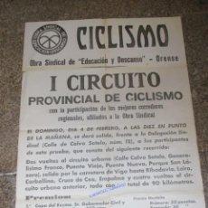Coleccionismo deportivo: GALICIA ORENSE - CARTEL PAPEL I CIRCUITO PROVINCIAL DE CICLISMO, HACIA 1945 64X44CM HUELLAS PLIEGUES. Lote 61942520