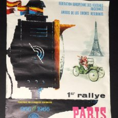 Coleccionismo deportivo: CARTEL ORIGINAL 1ER RALLYE PARIS-LLORET DE MAR. AÑO 1966. 65 X 42 CTMS. Lote 65027111
