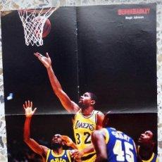 Colecionismo desportivo: POSTER BALONCESTO BASKETBALL SUPERBASKET MAGIC JOHNSON LOS ANGELES LAKERS NBA AÑOS 80 VINTAGE. Lote 65700662
