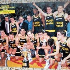 Coleccionismo deportivo: POSTER BALONCESTO BASKETBALL FIBA BASKET ESTUDIANTES CAMPEON COPA REY 91/92 + AUDIE NORRIS BARCELONA. Lote 65703166