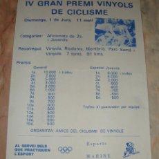 Coleccionismo deportivo: CARTEL CICLISMO IV GRAN PREMI VINYOLS DE CICLISME PUBLICIDAD. Lote 68086149