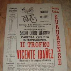Coleccionismo deportivo: CARTEL CICLISMO II TROFEO VICENTE IBAÑEZ 1979 PUBLICIDAD. Lote 68086177