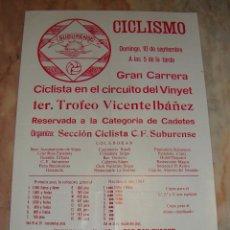 Coleccionismo deportivo: CARTEL CICLISMO 1ER. TROFEO VICENTE IBAÑEZ VINYET PUBLICIDAD. Lote 68087001