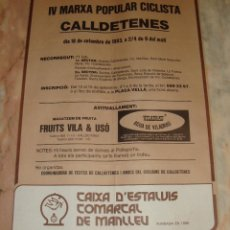 Coleccionismo deportivo: CARTEL CICLISMO IV MARXA POPULAR CICLISTA CALLDETENES 1983 PUBLICIDAD C. D'ESTALVIS COMARCAL MANLLEU. Lote 68224737