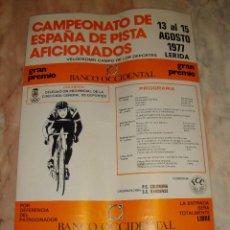 Coleccionismo deportivo: CARTEL CICLISMO CAMPEONATO DE ESPAÑA DE PISTA AFICIONADOS LERIDA 1977 PUBLICIDAD BANCO OCCIDENTAL. Lote 68224837