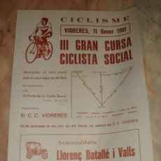 Coleccionismo deportivo: CARTEL CICLISMO III GRAN CURSA CICLISTA SOCIAL VIDRERES 1981 PUBLICIDAD. Lote 68233965