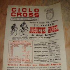 Coleccionismo deportivo: CARTEL CICLISMO CICLO CROSS HOSPITALET 1979 PUBLICIDAD. Lote 68234165