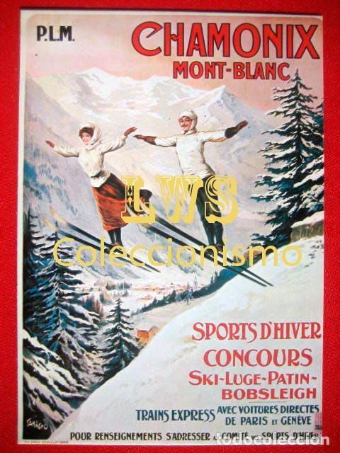 CHAMONIX MONT-BLANC, PUBLICIDAD IMÁGENES - DEPORTES - ESQUÍ (Coleccionismo Deportivo - Carteles otros Deportes)