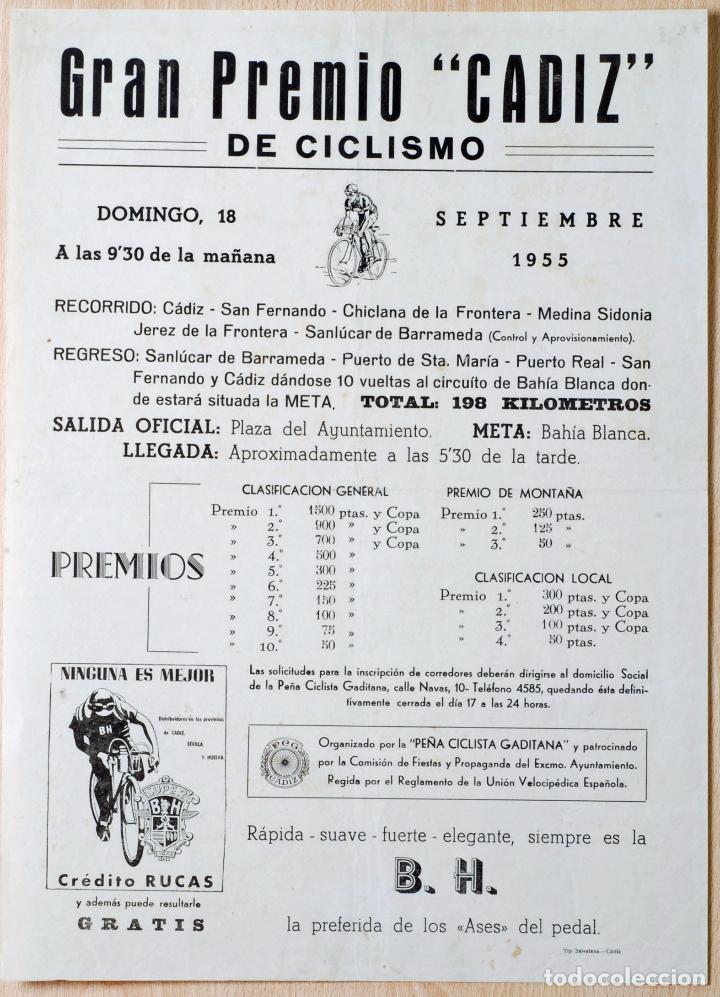 CARTEL GRAN PREMIO CICLISMO CÁDIZ 18 SEPTIEMBRE 1955 PEÑA CICLISTA GADITANA BH (Coleccionismo Deportivo - Carteles otros Deportes)