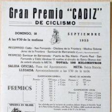 Coleccionismo deportivo: CARTEL GRAN PREMIO CICLISMO CÁDIZ 18 SEPTIEMBRE 1955 PEÑA CICLISTA GADITANA BH. Lote 76974285