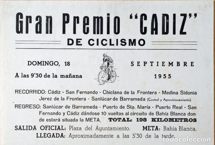 Coleccionismo deportivo: Cartel Gran Premio Ciclismo Cádiz 18 septiembre 1955 Peña Ciclista Gaditana BH - Foto 2 - 76974285