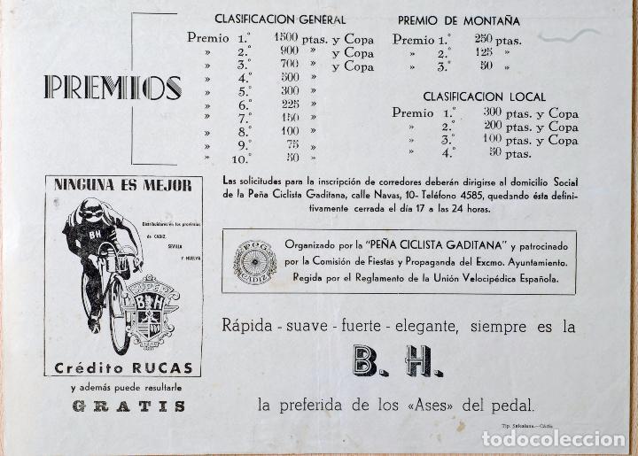 Coleccionismo deportivo: Cartel Gran Premio Ciclismo Cádiz 18 septiembre 1955 Peña Ciclista Gaditana BH - Foto 3 - 76974285