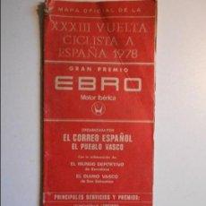Coleccionismo deportivo: VUELTA CICLISTA A ESPAÑA 1972. MAPA OFICIAL DE LA XXXIII VUELTA CICLISTA A ESPAÑA. CON SEÑALES DE US. Lote 77286889