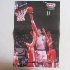 Coleccionismo deportivo: DOBLE POSTER ARVYDAS SABONIS. REAL MADRID. DEJAN BODIROGA. REAL MADRID. Lote 78790513