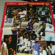 Coleccionismo deportivo: DOBLE POSTER GRANDE MAGIC JOHNSON ALL STAR 1992. ORLANDO. CEDRIC CEBALLOS MATES NBA. Lote 78798561