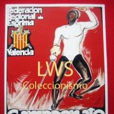 Coleccionismo deportivo: FEDERACIÓN REGIONAL DE ESGRIMA, CAMPEONATO NACIONAL JULIO 1934 VALENCIA, PUBLICIDAD DEPORTES S-1. Lote 80241033