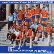 Coleccionismo deportivo: POSTER SELECCION ESPAÑOLA DE BALONCESTO BASKET 1988. Lote 80375401