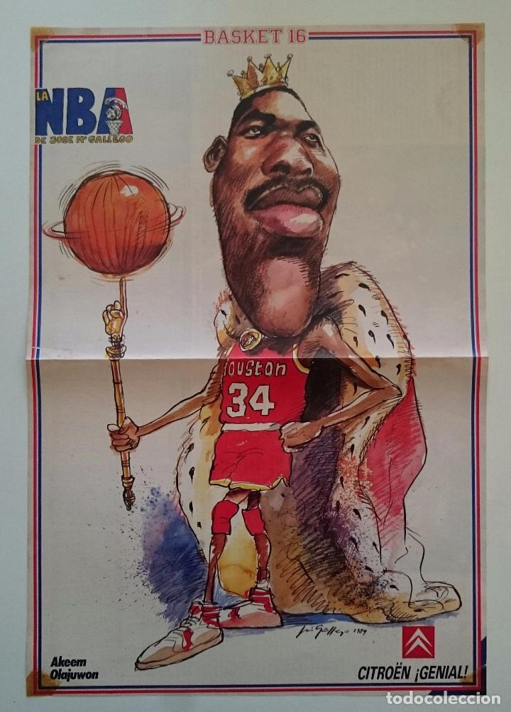 POSTER CARICATURA HAKEEM OLAJUWON NBA HOUSTON ROCKETS BASKET16 (Coleccionismo Deportivo - Carteles otros Deportes)