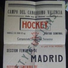 Coleccionismo deportivo: PARTIDO DE HOCKEY FEMENINO : MADRID VS VALENCIA, 1941 . SECCION FEMENINA DE FALANGE ESPAÑOLA JONS. Lote 85295720