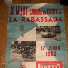 Coleccionismo deportivo: CARTEL ORIGINAL CARRERA SUBIDA RABASSADA BARCELONA MOTOS AUTOS MOTOR COCHES CLUB AÑOS 60 MOTORISTA. Lote 86190400
