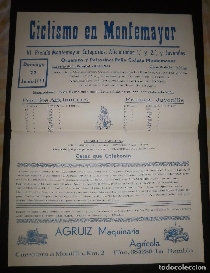 CARTEL CICLISMO. PRUEBA NACIONAL EN MONTEMAYOR, 1980. PUBLICIDAD AGRUIZ, PERFECTO ESTADO (Coleccionismo Deportivo - Carteles otros Deportes)
