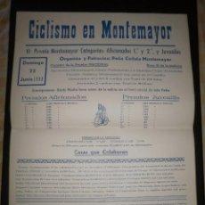 Coleccionismo deportivo: CARTEL CICLISMO. PRUEBA NACIONAL EN MONTEMAYOR, 1980. PUBLICIDAD AGRUIZ, PERFECTO ESTADO. Lote 87553040