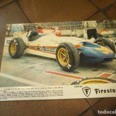 Coleccionismo deportivo: CARTELITO AUTOMOVILISMO COCHE DE FORMILA PNEUS FIRESTONE. MEDIDAS 41 X 27 CM. Lote 88762276