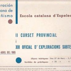 Coleccionismo deportivo: CARTEL FEDERACION CATALANA DE MONTAÑISMO ESCUELA CATALANA DE ESPELEOLOGIA 1965. Lote 90343500