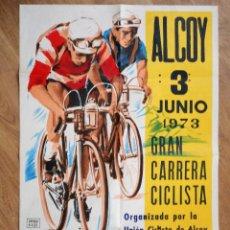 Coleccionismo deportivo: ALCOY (ALICANTE) - GRAN CARRERA CICLISTA I TROFEO FLECOS A CASTELLÓ, 3 JUNIO 1973 - 54X82 CM. Lote 90440949