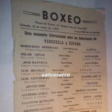 Coleccionismo deportivo: CARTEL BOXEO.PLAZA TOROS TENERIFE.ESPAÑA. VENEZUELA.MOROCHITO RODRIGUEZ,CAMPEON OLIMPICO.1972. Lote 90921555