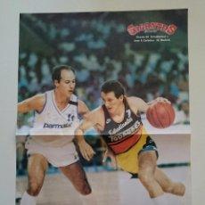 Coleccionismo deportivo: POSTER BALOCESTO ESTUDIANTES REAL MADRID CORBALAN. Lote 91557545