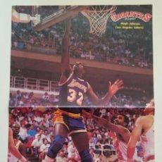 Coleccionismo deportivo: POSTER NBA LOS ANGELES LAKERS MAGIC JOHNSON REVISTA GIGANTES DEL BALONCESTO. Lote 91582150