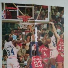 Coleccionismo deportivo: POSTER NBA REVISTA SUPERBASKET ALL STAR GAME 1987 WORTHY OLAJUWON BIRD MALONE MICHAEL JORDAN. Lote 91582590