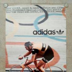 Coleccionismo deportivo: CARTEL ADIDAS EDDY MERCKX RÉCORD DE LA HORA - MOLTENI CICLISMO VINTAGE PÓSTER. Lote 91933327
