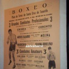 Coleccionismo deportivo: CARTEL BOXEO,PLAZA TOROS SANTA CRUZ TENERIFE.1974.CHINEA.CORCHITO,FAJARDO,MOLINA.MARICHAL.RIHELIÑO. Lote 92162320