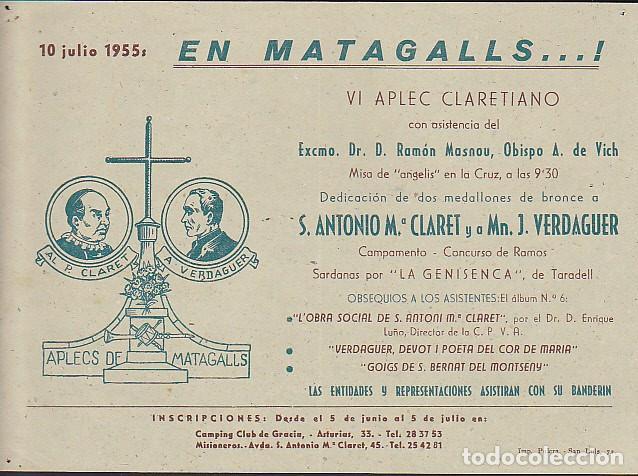 CARTEL SUBIDA A MATAGALLS 10 JULIO 1955 (Coleccionismo Deportivo - Carteles otros Deportes)