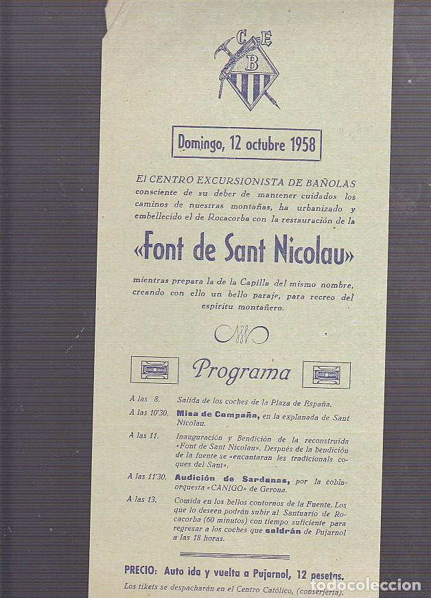 CARTEL CENTRO EXCURSIONISTA DE BAÑOLAS 12 OCTUBRE 1958 (Coleccionismo Deportivo - Carteles otros Deportes)