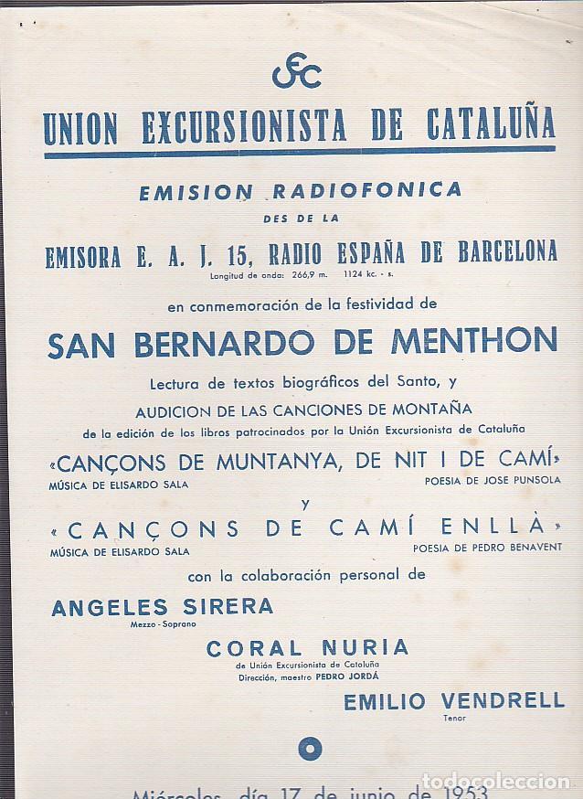 CARTEL UNION EXCURSIONISTA DE CATALUÑA 17 JUNIO 1953 (Coleccionismo Deportivo - Carteles otros Deportes)