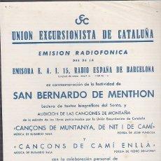 Coleccionismo deportivo: CARTEL UNION EXCURSIONISTA DE CATALUÑA 17 JUNIO 1953. Lote 93021810