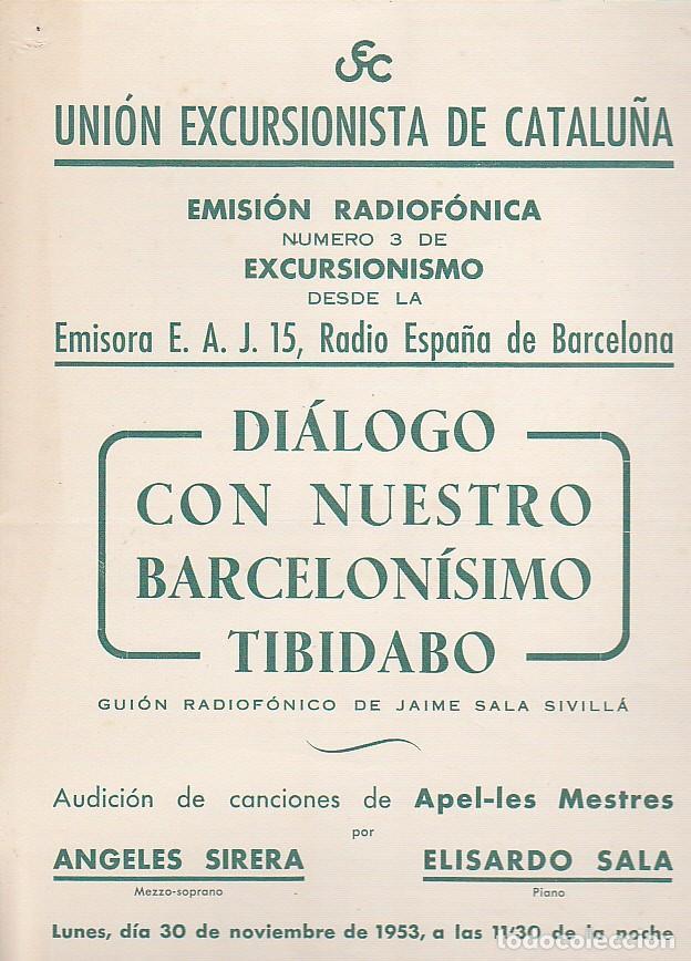 CARTEL UNION EXCURSIONISTA DE CATALUÑA 30 NOVIEMBRE 1953 (Coleccionismo Deportivo - Carteles otros Deportes)
